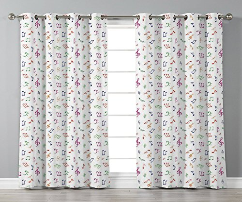 Satin Grommet Window Curtains,Music,Watercolor Icons Sonic Beats Vocals Dynamic Cultural Activity Concert Harmony Artwork Decorative,Multicolor,2 Panel Set Window Drapes,for Living Room Bedroom Kitche