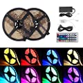 xtf2015 10M/32.8ft Color Changing RGB 5050 SMD Waterproof 300 LEDs Lighting Rope Lights 30LEDs/M Flexible Strip Light Kit + Two Outputs 44key IR Remote Controller + 5A Power Supply