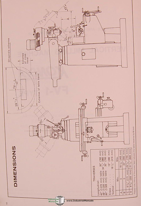 Kondia Powermill Fv1 Manual Tb42 Efi Wiring Diagram Power Mill Array Fv 1 Milling Machine Service And Parts Rh Amazon Com