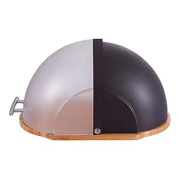 Farbe:Schwarz Brotkasten mit Deckel und Bambusholz Kunststoff//Bambus // Edelstahl Edelstahlgriff 37 x 26,5 x 19 cm LxBxH wei/ß oder schwarz w/ählbar