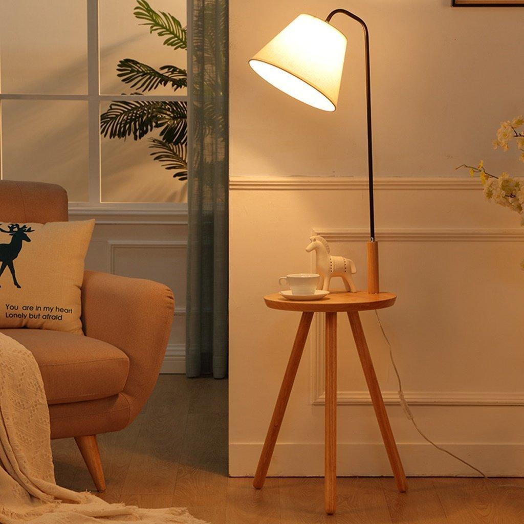 MOMO Stehlampe Massivholz Stehlampe Wohnzimmer Nachttischlampe Kreative Nordic Stehleuchte Europäische Vertikale Licht, Regale Tischlampe