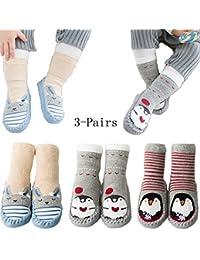 Unisex Baby Winter Crew Socks Antiskid Cotton Walker Sock for Toddler and Infant