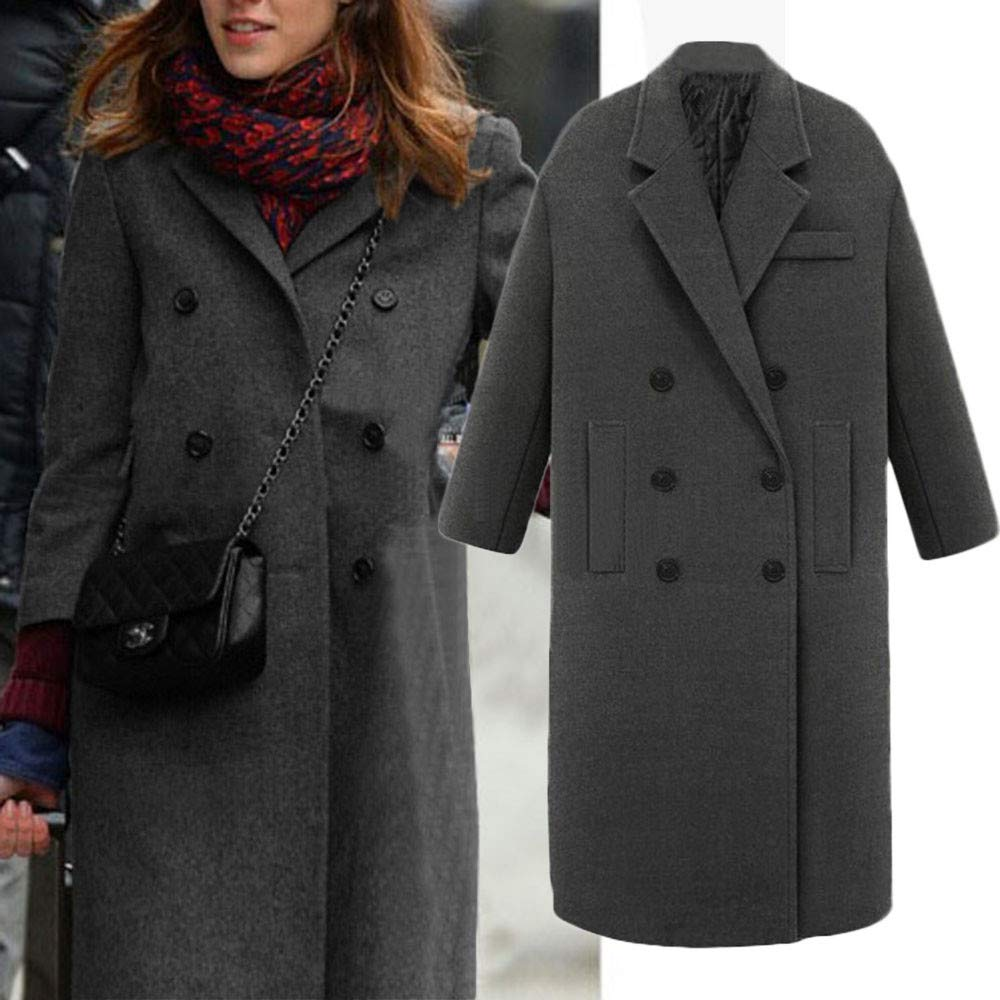 Amazon.com: Caopixx Women Outwear Winter Lapel Wool Button Trench Jacket Loose Casual Cardigan Coat Overcoat Outwear: Clothing