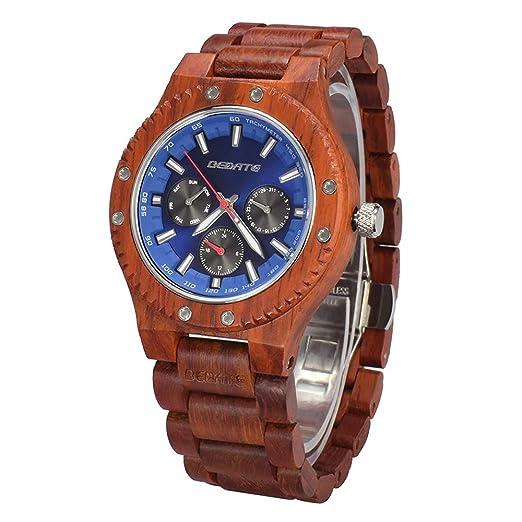 Relojes de Madera, BEDATE W144A Reloj de Cuarzo Japonés Lujo Hombre con Reloj 24 Horas