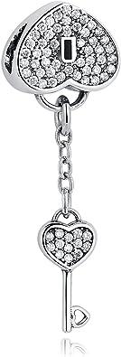 En forme de cœur serrure et plaqué or Clé Charm Bead Argent Sterling .925