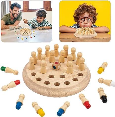 CBA BING Los niños de Madera Partido Memory Stick Juego de ajedrez Juguetes Memoria Color Ajedrez Rompecabezas para niños y niñas 3 años de Edad hasta Interacción Entre Padres e Hijos Juguete:
