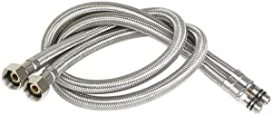16 Inch Long Faucet Connector Braided Stainless Steel Supply Hose 3/8-Inch Female Compression Thread x M10 Male Connector, 2 Pcs (1 Pair)