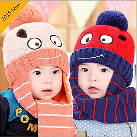 fcceb30cf9eb Buy Generic red   one piece hat scarf set bonnet enfant kids winter hats red  stripe cute knitted bomber hat newborn photography props cap for boys  Online at ...