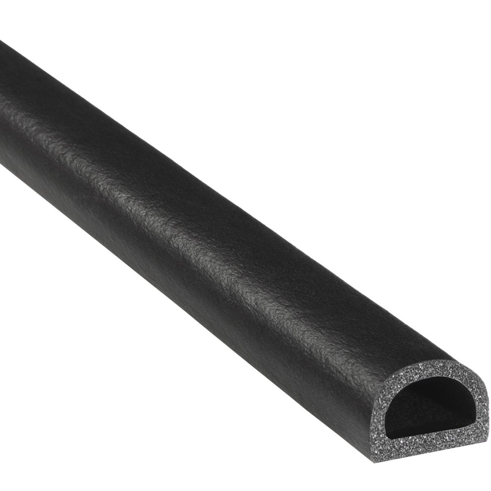 """Trim-Lok D-Shaped Rubber Seal – EPDM Foam Seal with HT (General Acrylic) Pressure Sensitive Adhesive System – Ideal Door and Window Weather Seal for Cars, Trucks, RVs, and Boats – 0.562"""" Height, 0.75"""" Width, 25' Length"""