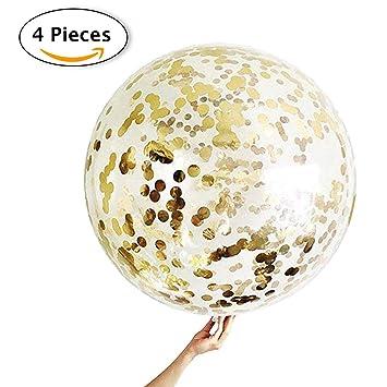 Decoracion Nochevieja 2020, 4 Globos de Confeti Gigante XXL Confetti Balloon. Globo Transparente con Confeti Dorado para Fiesta de Año Nuevo, Boda, ...