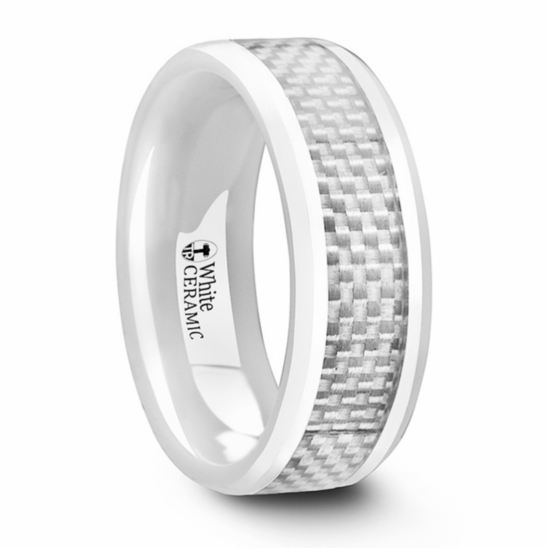 Thorsten Kenyon Beveled Polished White Ceramic Ring with White Carbon Fiber Inlay 8mm Wide Wedding Band from Roy Rose Jewelry