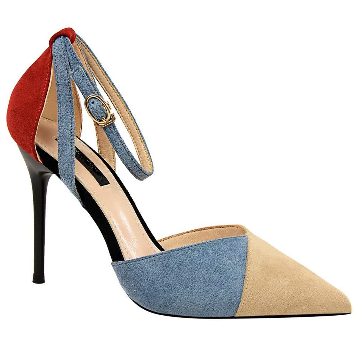 LBTSQ-la moda tacco tacco alto superficiale bocca 9cm puntata sexy slim un nastro hollow camoscio colore sandali.Thirty-seven