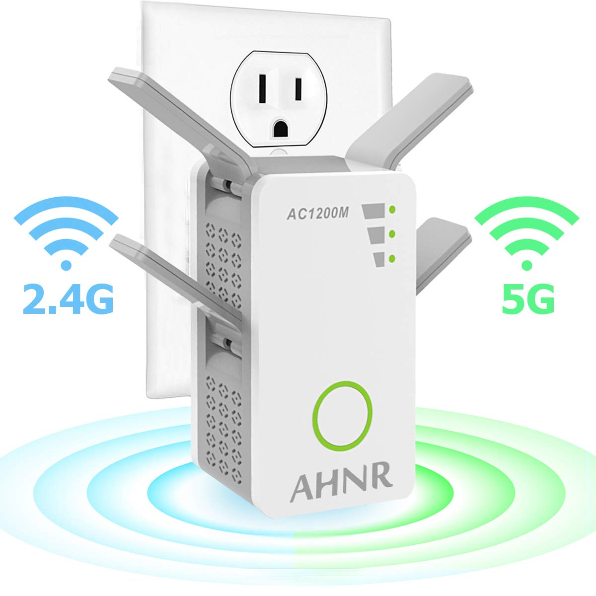 WiFi Range Extender, Wi-Fi Signal Booster, AHNR AC1200 Wireless Repeater 2.4/5GHz Dual Band Up to 1200 Mbps with 4 External Antennas, Supports Router Mode/Repeater/Access Point