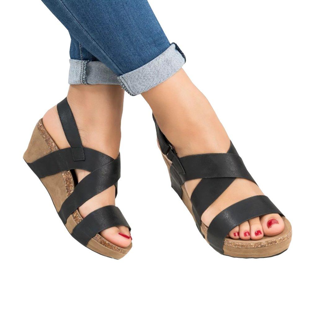 Syktkmx Womens Strappy Platform Wedges Open Toe Slingback Cork Heel Slip on Thong Sandals