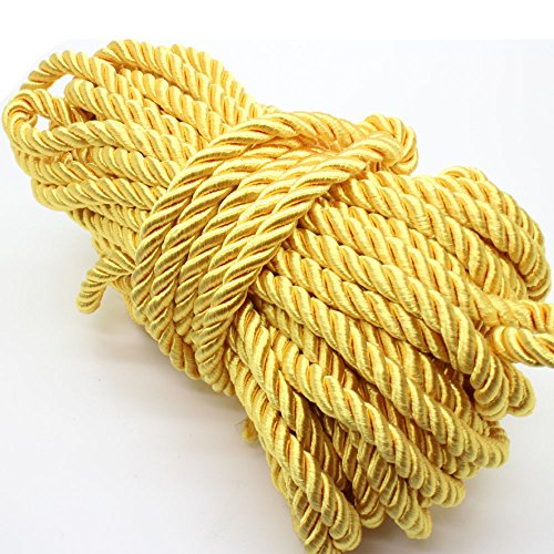 - U Pick 10yds 5mm Decorative Twisted Satin Polyester Twine Cord Rope String Thread Shiny Cord Choker Thread (07:Yellow)