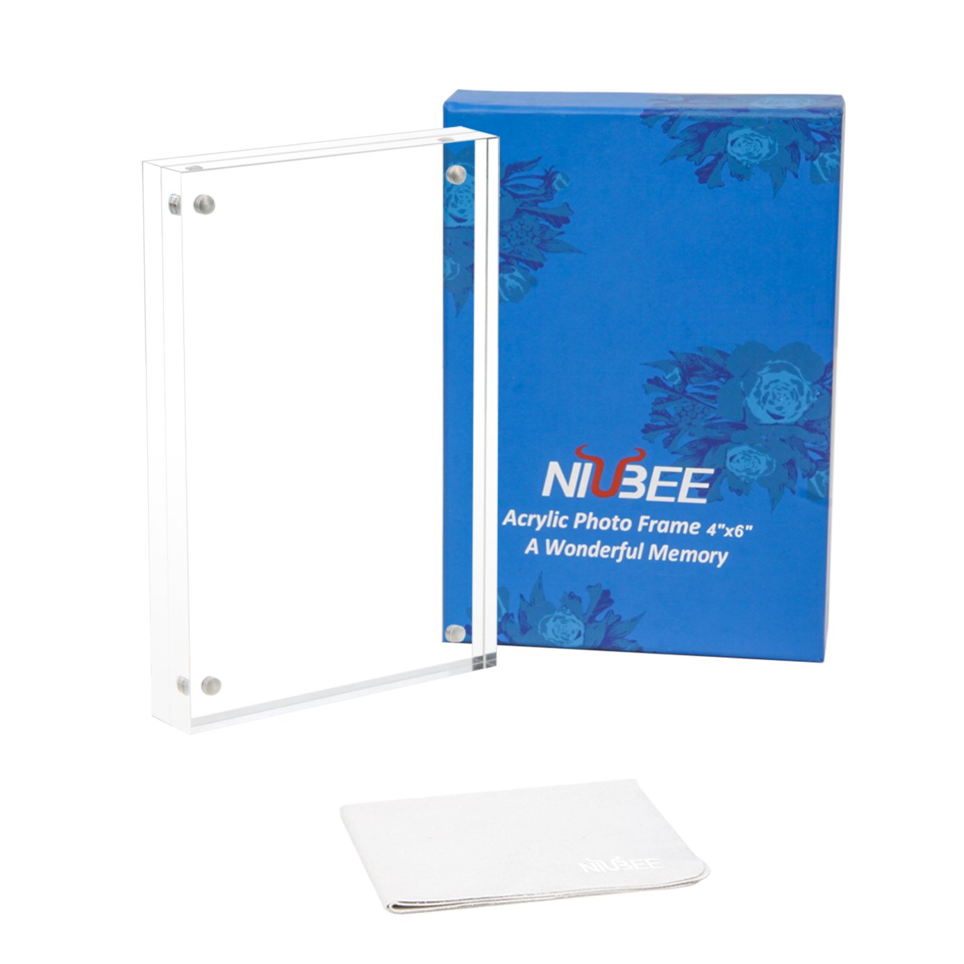 Niubee Acrylic Photo Frame 4x6 Gift Box Package Clear Free Standing