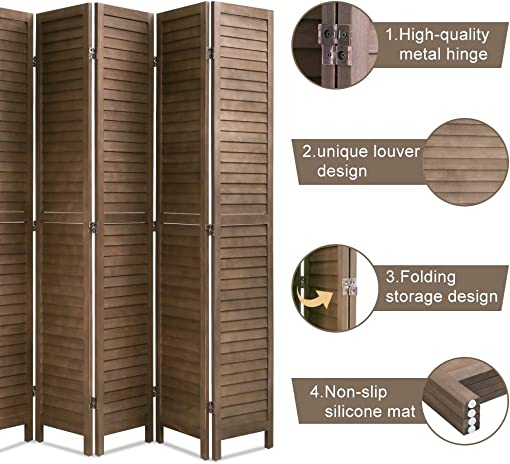 6 Panel Wood Room Divider 5.75 Ft Tall Privacy Wall Divider Folding Wood Screen 68.9 x 15.75 Each Panel