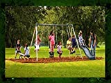 This Kids Outdoor Swing Set Features Swings, a Trapeze, Air Glider, Slide and Seesaw! Watch Your Children Play in the Backyard All Summer Long