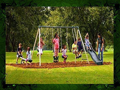This Kids Outdoor Swing Set Features Swings, a Trapeze, Air Glider, Slide and Seesaw! Watch Your Children Play in the Backyard All Summer Long by MS Manufacturing