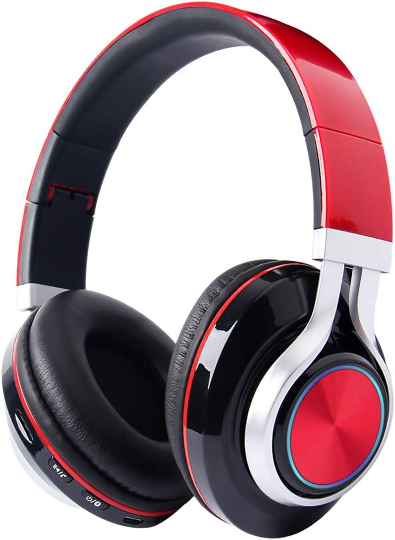 TKLLOVE Blue Sports Auricular inalámbrico,Bluetooth Auricular Plegable USB/3.5mm Retráctil De Reducción De Ruido PC Llamadas Móvil Online Conference-TF Ranura para Tarjeta(Azul)