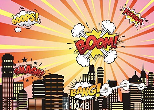 WOLADA 7x5ft Super Hero backdrops for Photography Vinyl Photography Background Backdrops Child Baby Shower City Super Hero Board Photo Studio Prop 11048 for $<!--$16.98-->