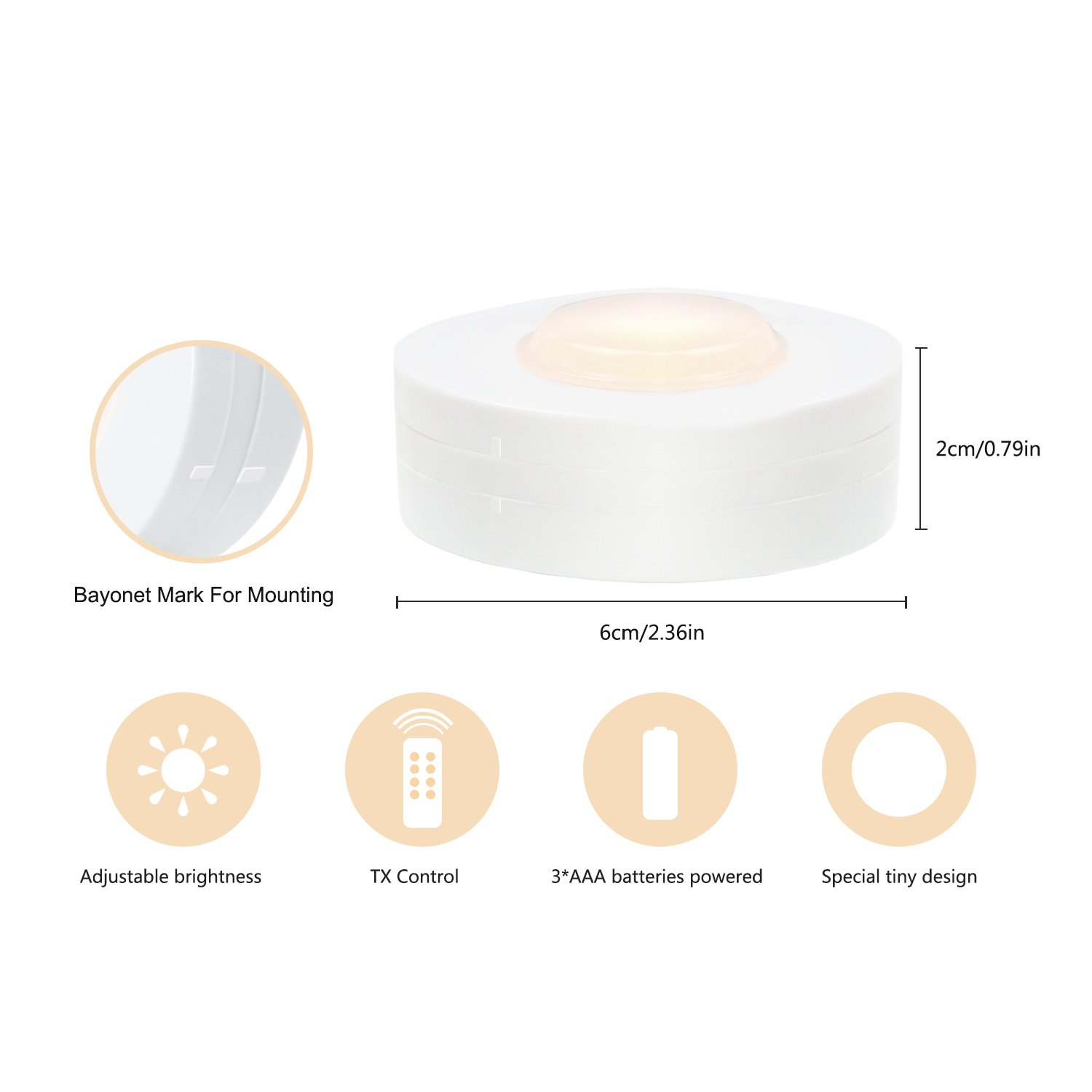SALKING LED Under Cabinet Lighting, Wireless LED Puck Lights with Remote Control, Dimmable Closet Light, Battery Powered Under Counter Lights for Kitchen, Natural White 6 Pack by Salking (Image #3)