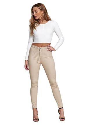 Divadames Womens High Waisted Beige Skinny Jeans Ladies Plain