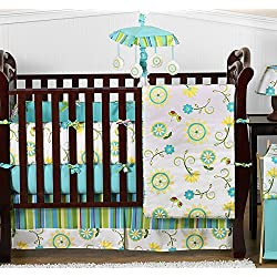 Sweet Jojo Designs Turquoise Blue and Lime Green Layla Floral Baby Girl Bedding 9 piece Flower Crib Set