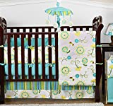 Sweet Jojo Designs Turquoise Blue and Lime Green Layla Floral Baby Girl Bedding 9pc Flower Crib Set