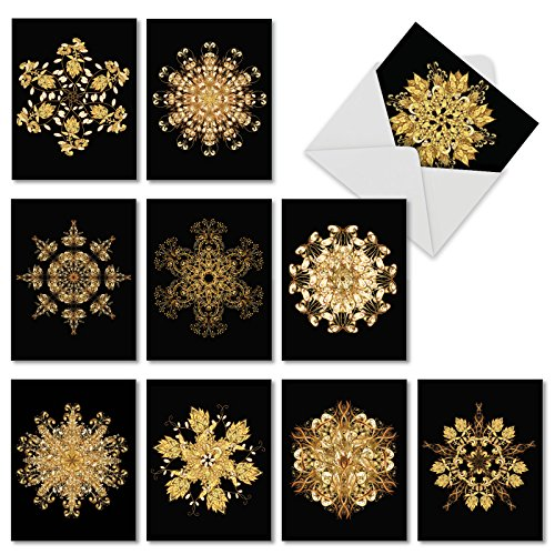 Magnificent Mandalas -10 Boxed Blank Greeting Cards with Envelopes (4 x 5.12 Inch) - Spiritual Art All-Occasion Note Cards - Stationery Notecards Bundle for Any Occasion - Card Art Blank