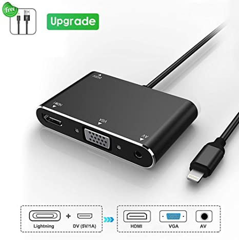 for iPhone iPad to HDMI VGA AV Converter 3 in 1 Plug and Play Digital Adapter