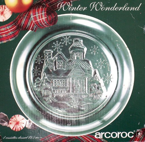 VINTAGE ARCOROC Winter Wonderland 7 3/4 plates - Box of 4 by Arcoroc France