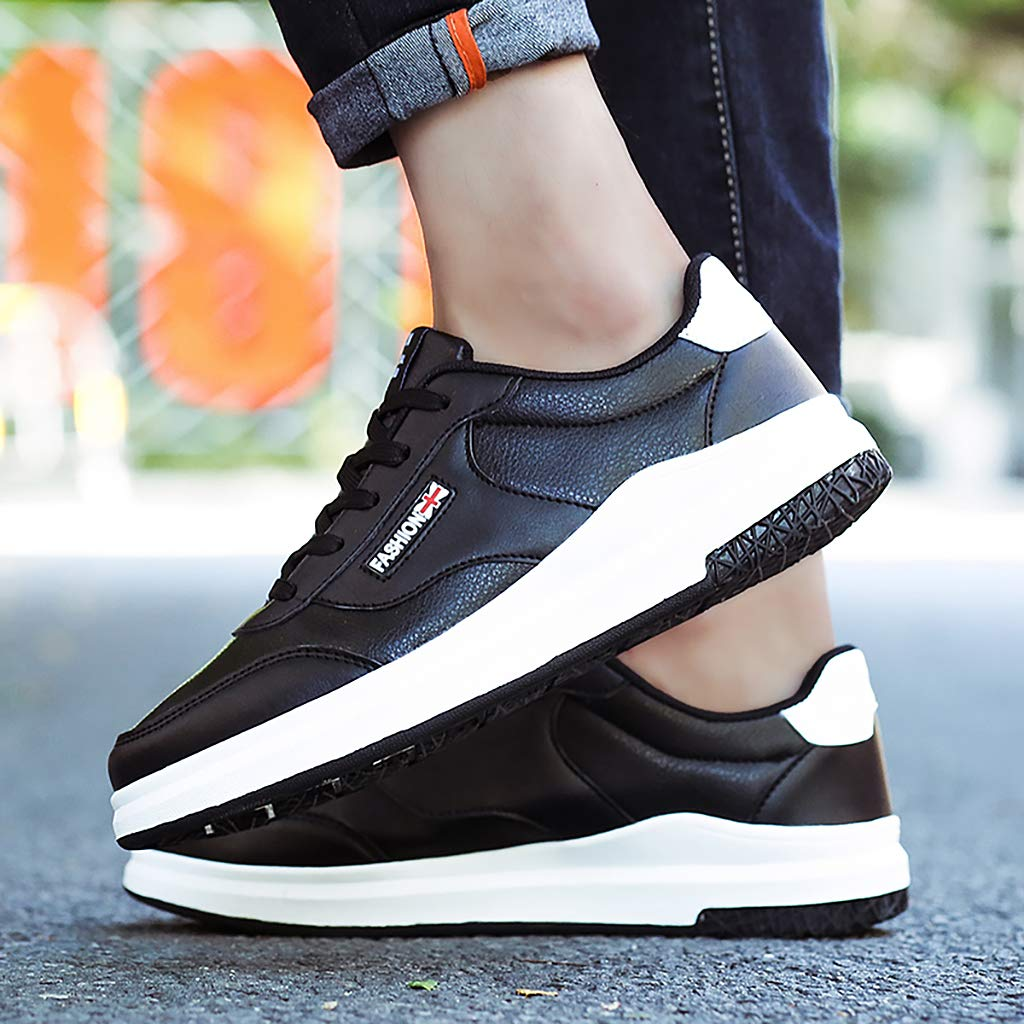 ENLEN/&BENNA Mens Casual Running Shoes Fashion Flat Sneaker Breathable Lightweight Non-Slip Shoes Lace-up Black