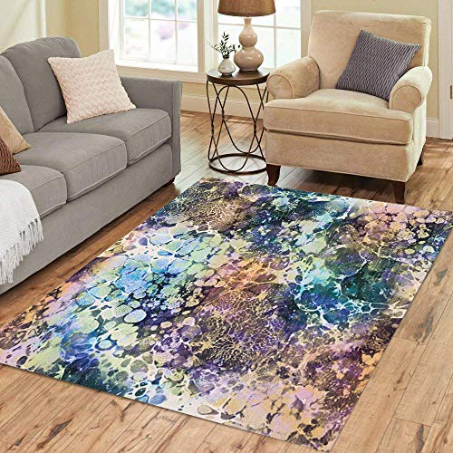Semtomn Area Rug 5' X 7' Blue Agate Abstract Marble Colorful Vintage Watercolor Antique Color Home Decor Collection Floor Rugs Carpet for Living Room Bedroom Dining Room ()