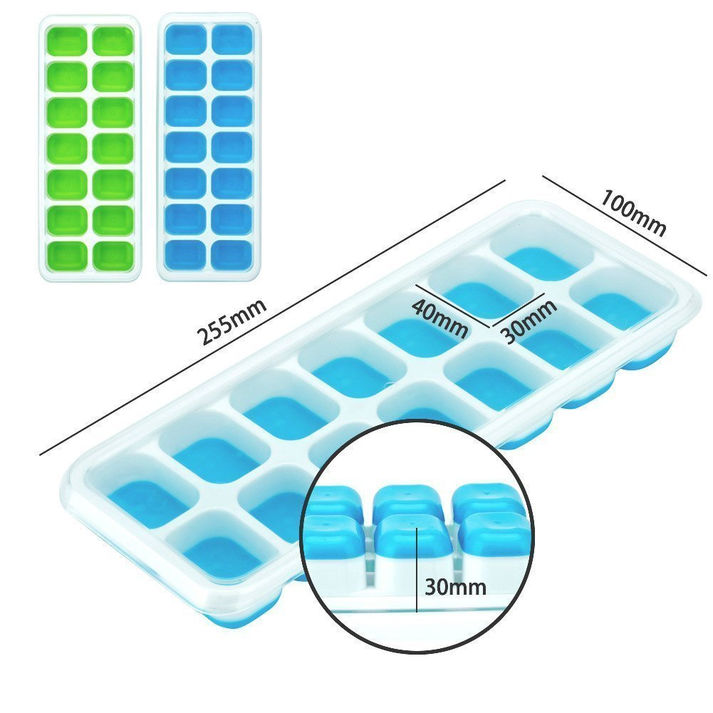 Ice Cube Trays Silicone,Ice Cube Mold Ice Tray Spill Resistant Lids 4 Pack and Flexible Reusable 14-Ice Trays Set with Lid Stackable BPA Free Dishwasher Safe Ice Cube Maker Storage Containers by SBC (Image #3)