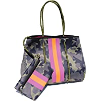 Camo Neoprene Tote   Beach Tote, Gym Bag   Matching Wallet Included   Green Camo with Pink & Orange Stripes