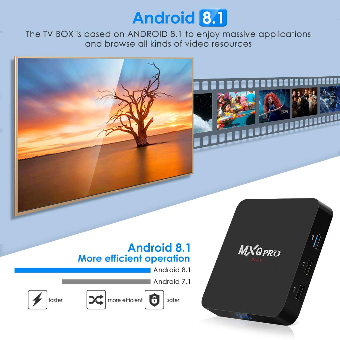 Android 9 0 TV Box, Leelbox 2019 Update Android TV Box 4GB RAM 32GB ROM  Quad-Core RK3328 Android Box Built-in 2 4G WiFi Supports BT 4 1/3D Movie/4K