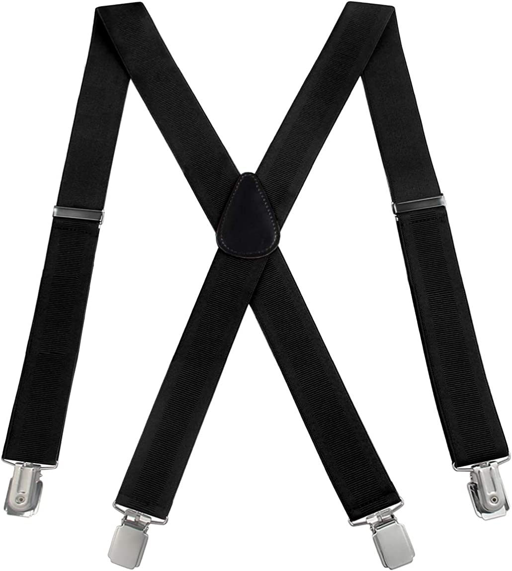 Mens Suspenders Adjustable X-Back Heavy Duty Clip Suspenders - Elastic, Big & Tall