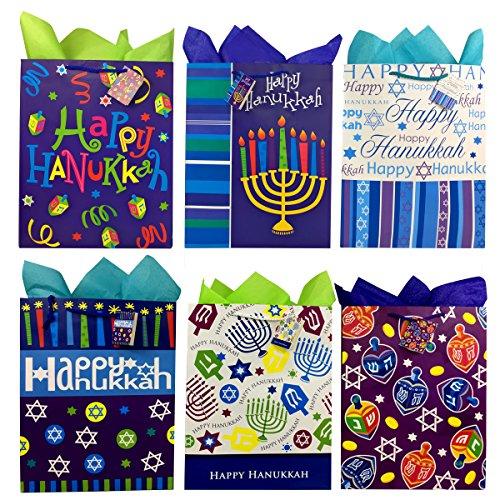 Set of Hanukkah Gift Bags and Tissue Paper (6 Bags + Tissue, Blue Dreidel)