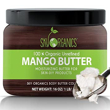 Best Raw Mango Butter by Sky Organics 16oz- 100% Pure, Unrefined, Organic Mango Butter-Skin Nourishing, Moisturizing & Healing, for Dry Skin, Hair Shine - For Skin Care, Hair Care & DIY- Made in USA