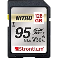 Strontium SRN128GSDU3QR Nitro SDXC 95MB/s UHS-I U3 V30 Class 10 Flash Memory Card for Camera, 128GB