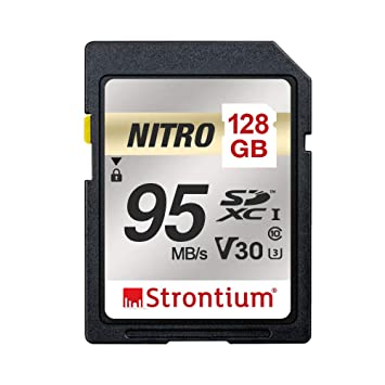 Strontium Nitro 128GB SD SDXC UHS-I U3 V30 Class 10 Flash Memory Card (SRN128GSDU3QR) SecureDigital Cards at amazon