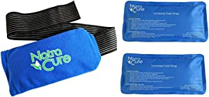"NatraCure Universal Cold Pack Ice Wrap – 2 Ice Packs w/ 1 Pouch - (5"" x 10"" Pouch with 24"" Nylon Belt Strap & 2 Cold Packs)"