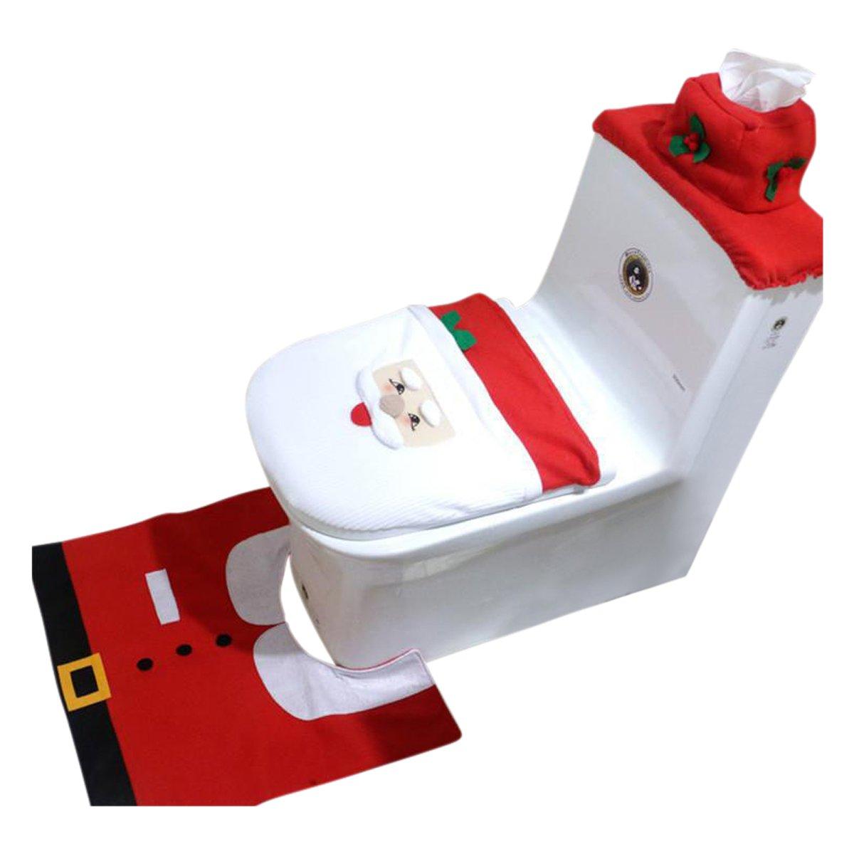 Christmas Holiday Festive Toilet Seat Cover & Rug 3 Piece Set Three Decorative Styles to Choose From Santa Elf Santa Claus (Santa)