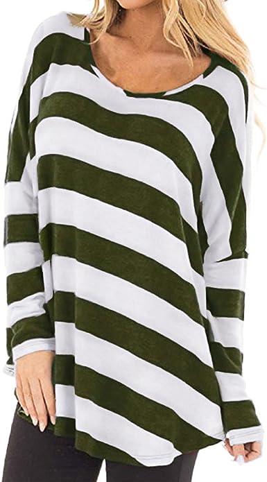 EUZeo Otoño Camiseta para Mujer Cuello Redondo Blusas Manga Larga Tops Camisa tee de Verano Moda Shirt Fiesta Rayas Top Casuales Ropa Invierno (XL, Verde): Amazon.es: Ropa y accesorios