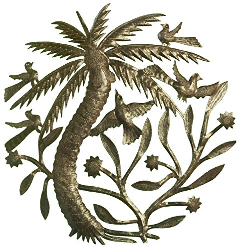 Le Primitif Galleries Haitian Recycled Steel Oil Drum Outdoor Decor, 23 by 23-Inch, Palm Tree with Foliage