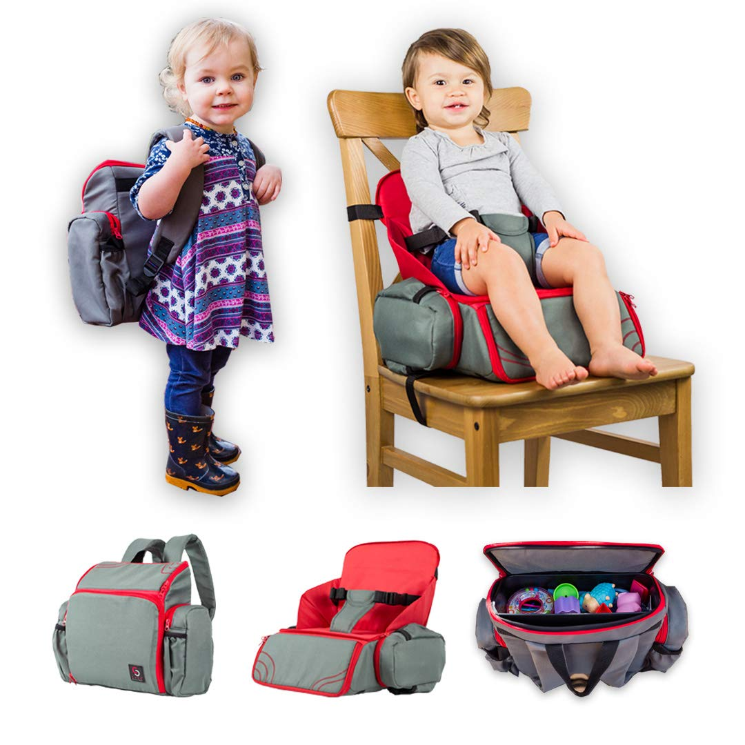 3 in 1 - Cozy Travel Booster Seat/Backpack/Diaper Bag for Your Toddler/Baby. Perfect for Home or Travel. Great Baby Shower Gift
