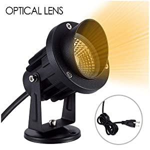 JEKOOMI Landscape Lights,7W 120V Warm White Led Outdoor Spotlight,Landscape Lighting for Tree Lawn Wall Flag Garden Yard with US Plug in and Mount Base