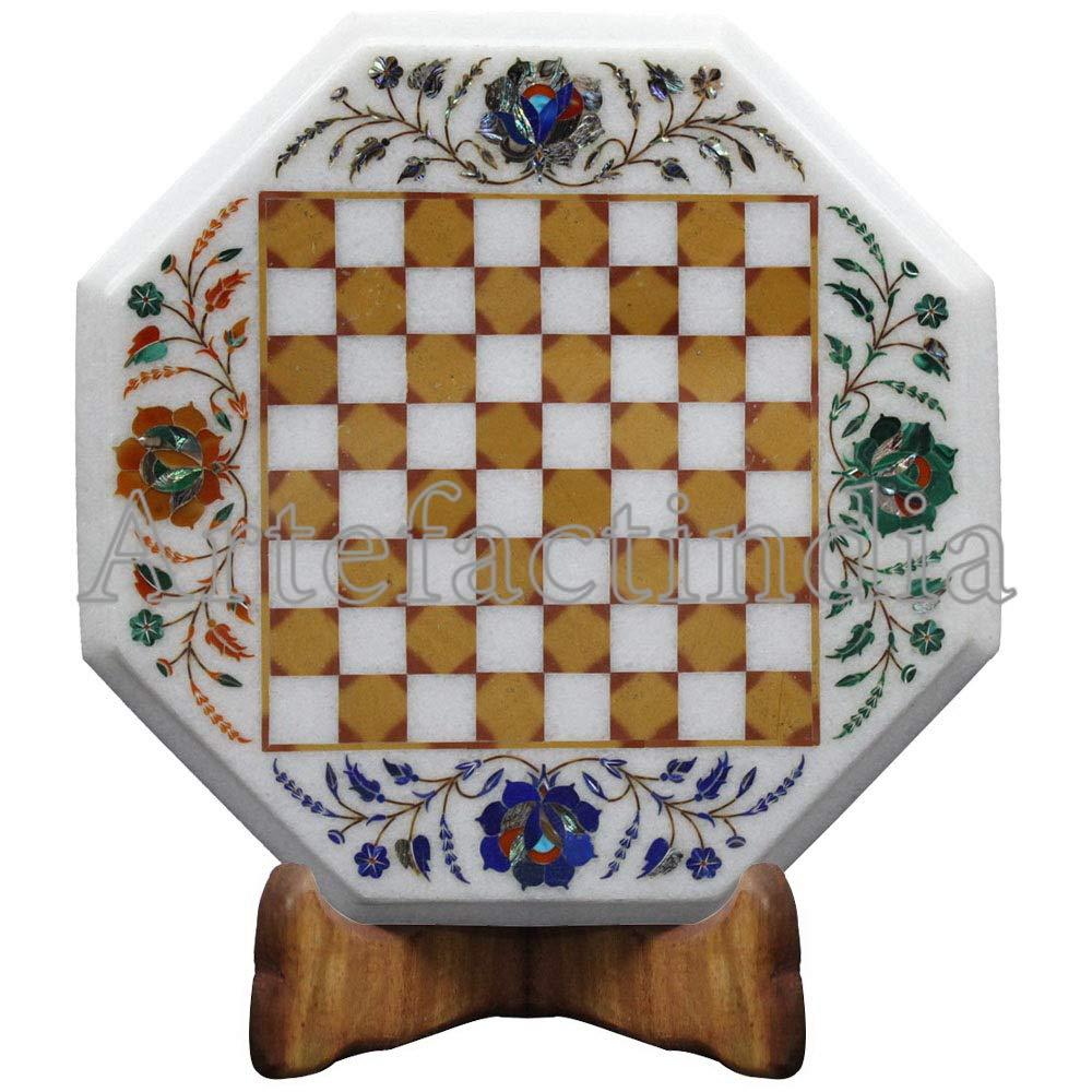 Artefactindia Antique White Marble Chess Board Vintage Game Inlaid Semi  Precious Stones 12'' X 12'' White