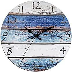 "Bernhard Products Rustic Beach Wall Clock 12"" Round, Silent Non Ticking - Battery Operated, Fiberboard Wooden Look, Vintage Shabby Beachy Ocean Paint Boards Nautical Decorative Clock"